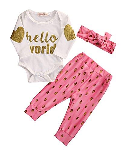 Brede 3 stks Set Pasgeboren Baby Hallo Wereld Letter Gedrukt Romper, Roze Vuur Dot Patroon Lange Broek met Leuke Haarband Outfits Kleding