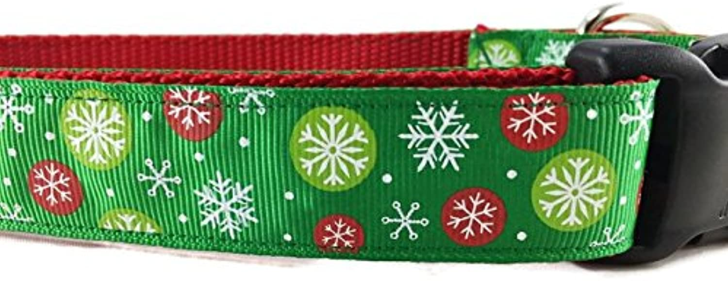 Christmas Dog Collar, Caninedesign, Snowflakes, Red, Green, 1 inch Wide, Adjustable, Nylon, Medium and Large (Green Snowflakes, Large 1522 )