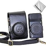 First2savvv Negro Funda Cámara Cuero de la PU cámara Digital Bolsa Caso Cubierta con Correa para Ricoh GR III GR II GR XJD-GRII-01G11