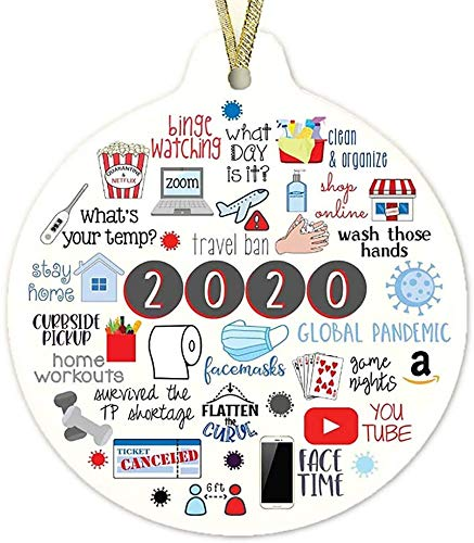 Huibao 2020 A Year to Forget, Remember 2020 Christmas Ornament Quarantine 2020 Events Keepsake Ship from USA (1)