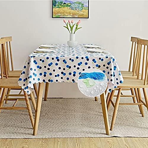 MJLING Nappe Nettoyable Impermeable Exterieur Couvre Table Anti Tache Antistatique Vintage PVC Rectangulaire Nappe De Table for Jardin Picnic Fete Salon Blueberry 55inX71in