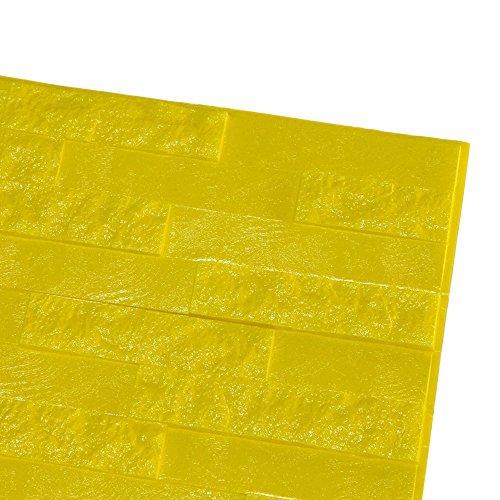 bobo4818 Wandpaneele 3D Tapete Steinoptik Ziegel Tapete Selbstklebend Wandaufkleber für Badezimmer Balkon Raufasertapete Küchen Fliesen küchenschrank (Gelb)