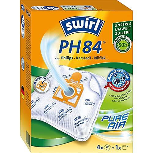Swirl PH 84 MicroPor Plus Staubsaugerbeutel für Philips, Karstadt, Nilfisk Staubsauger, Anti-Allergen-Filter, 4 Stück inkl. Filter