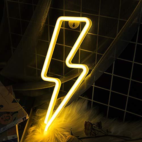 Venforze Rayo Perno de Luz de Neón, Luces de Neón Para Paredes, Luces de Neón, Luces LED de Luz de neón Para Decoración de Habitación de Juegos (Blanca Caliente)