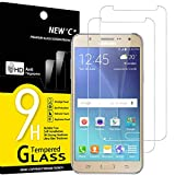 NEW'C 2 Unidades, Protector de Pantalla para Samsung Galaxy J7 2015, Antiarañazos, Antihuellas, Sin Burbujas, Dureza 9H, 0.33 mm Ultra Transparente, Vidrio Templado Ultra Resistente