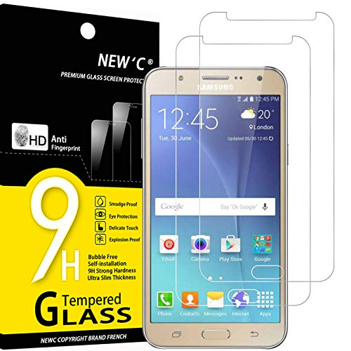 NEW'C 2 Stück, Schutzfolie Panzerglas für Samsung Galaxy J7 2015, Frei von Kratzern, 9H Festigkeit, HD Bildschirmschutzfolie, 0.33mm Ultra-klar, Ultrawiderstandsfähig