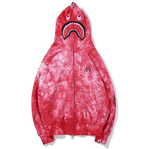 Sudadera con capucha con estampado de tiburón, informal, de manga larga con cremallera, perfectamente compatible con mujeres y caballeros, rosa, M