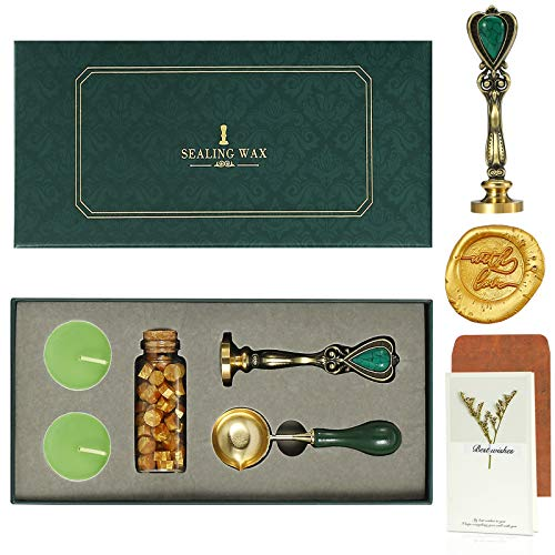 Wax Seal Stamp Kit,Sealing Wax Stamps Gift Kit,Retro Creative Sealing Wax with Brass Color Head,Embellishment Wedding Invitation,Card,Gift Wrap,Wine Package Sealing Wax Box (with Love)