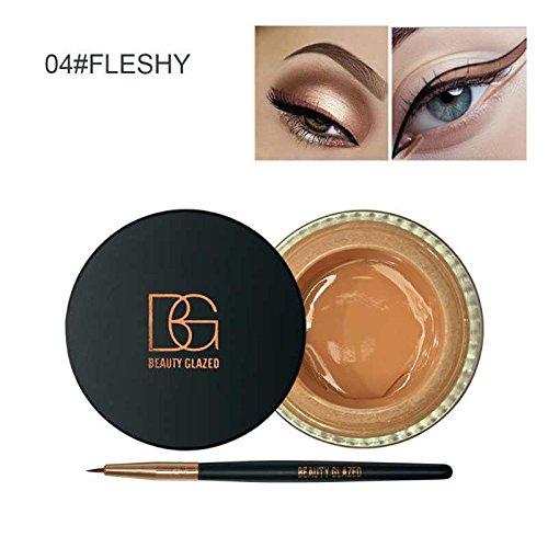 Beauty Glazed Eyeliner Gel Crème Avec La Brosse de Maquillage Cosmétique Waterproof Imperméable Eye Liner Brosse Kit Charnu