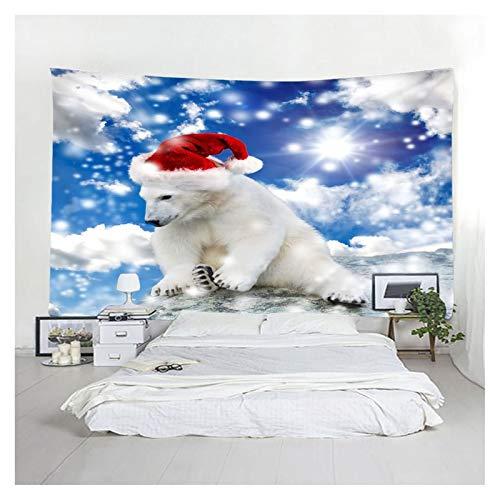 ANAZOZ Tapiz de Tela para Pared Poliéster Tapiz Indio Oso con Sombrero de Navidad y Cielo Blanco Rojo Azul Tapices Decorativos Pared 240x220CM