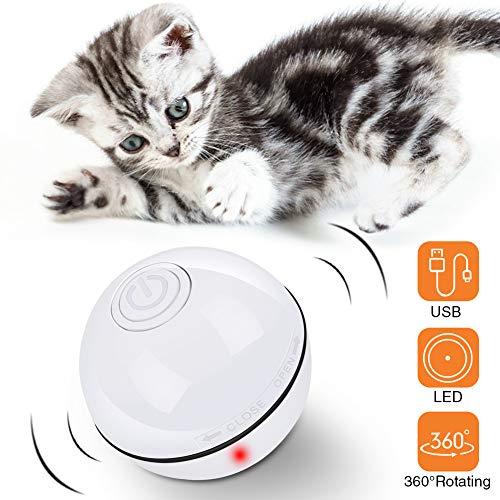 DIAOPROTECT Katzenspielzeug Elektrisch Ball, Automatische Selbstdrehender 360-Grad-Ball,USB Wiederaufladbares Interaktives Katzenspielzeug Ball,Elektrisch Katzenball mit LED-Licht für Kätzchen Welpen