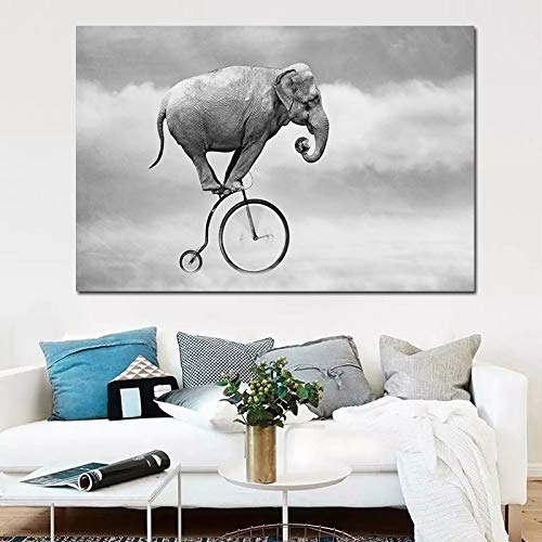 Weißer Elefant Fahrrad Himmel Ölgemälde Wandkunst Gemälde Familie Schlafzimmer Wand Wohnzimmer Dekoration rahmenlos 30x45cm