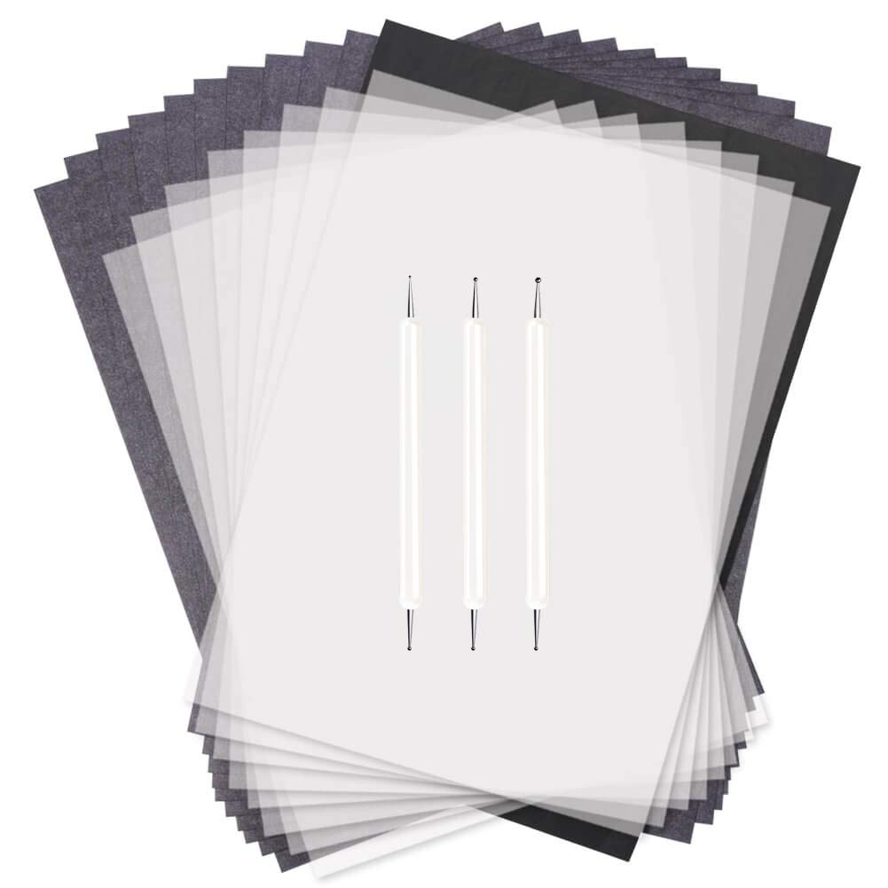 200Pcs Carbon Graphite Paper and Tracing Paper Transfer Paper Wood Carving and Tracing