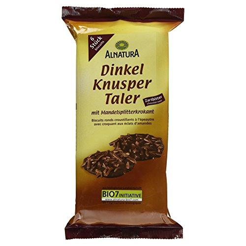Alnatura Bio Dinkel-Knuspertaler, Zartbitter, 6er Pack (6 x 100 g)