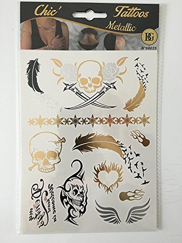 Tatouages métal - Tattoos métallic éphémères - 1 planche de tattoos multiples de 14 x 19 cm