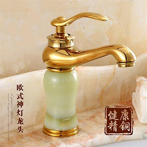MIWANG Style européen jade vert robinet d'eau chaude et froide robinet bassin, sensibiliser, seul trou, étape bassin, robinet, (avec 60cm flexible)