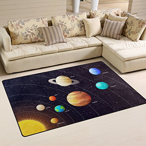 Yochoice Non-slip Area Rugs Home Decor, Hipster Solar System Planets with Orbits Floor Mat Living Room Bedroom Carpets Doormats 60 x 39 inches