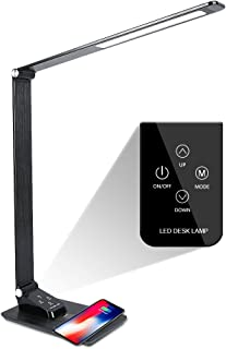 Donewin LED Desk Lamp with USB Port,Premium Metal Office Light with Wireless Charger,Eye-caring Desk Lamp for Officer/Worker,Touch Control,Memory Function,3 Lighting Modes&5 Brightness Levels,7W,Black