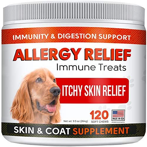 STRELLALAB Allergy Relief Chews for Dogs with Omega 3 + Colostrum + Kelp - Itchy Skin Relief Immune Supplement - Skin & Coat Health - Made in USA - Anti Itch & Hot Spots - Vegetable Flavor