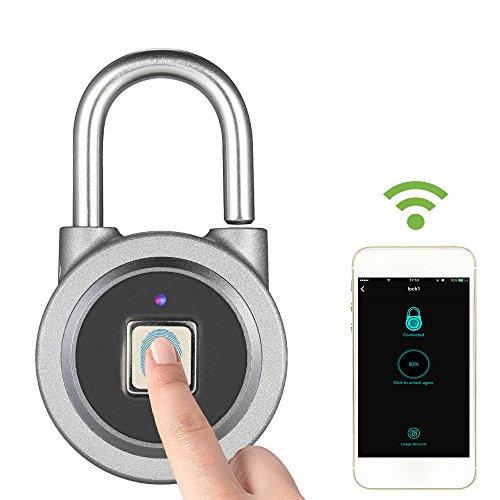 Decdeal BT Fingerdruck Vorhängeschloss Wasserdicht USB Vorhängeschloss für Android iOS Quadra Form für Ihre Tür, Rucksackkoffer, Radfahren, Fitnessstudio, Büro