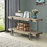 FirsTime & Co. Oxford Farmhouse Factory Cart Console Table, American Crafted, Weathered Brown, 50 x 21.5 x 30 ,