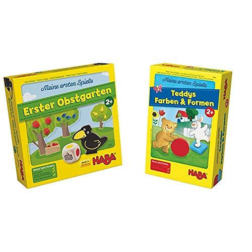 Haba 4655 - Meine ersten Spiele Erster Obstgarten, unterhaltsames Brettspiel rund um Farben und Formen ab 2 Jahren & Meine ersten Spiele Teddys Farben und Formen, Legespielsammlung für 1-4 Kinder