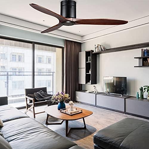 L-WSWS Luz del ventilador de techo BTX NORDIC DE COMEDOR DE COMEDOR SOLIDO DE MADERA SOLIDA Sin lámpara Ventilador de techo Dormitorio Simple Piso bajo American House Hogar Ventilador para 110V 220V
