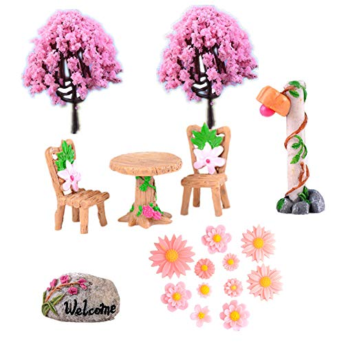 Zhiheng 18 Pack Sakura Tree Table Chairs Miniature Fairy Garden Street Lamp Welcome Flower Resin Figures for Bonsai Landscape Outdoor Dollhouse Decor for Girls