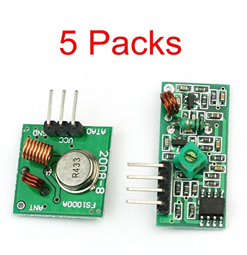 iHaosapce 5X 433MHz RF Wireless Transmitter and Receiver Module Kits for Arduino Raspberry Pi