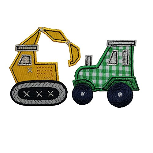 Excavadoras 7X8Cm 7X7Cm Tractor Lindo tractor amarillo, un sello atractivo para decorar e incentivar la imaginación de los pequeños. Pequeño tractor confeccionado con fondo de tela a cuadros y bordes que resalten el estampado