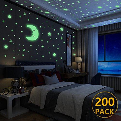 yosemy Wandsticker Leuchtaufkleber, 200 Sticker Sterne und Mond fluoreszierend Wandaufkleber, Leuchtstoff Aufkleber Für Kinderzimmer Zimmer Home Dekorative Aufkleber