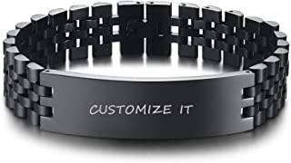 PJ Jewelry Personalized Engraved Mens Watch Band Wristband Nameplate Link Bracelet in Stainless Steel