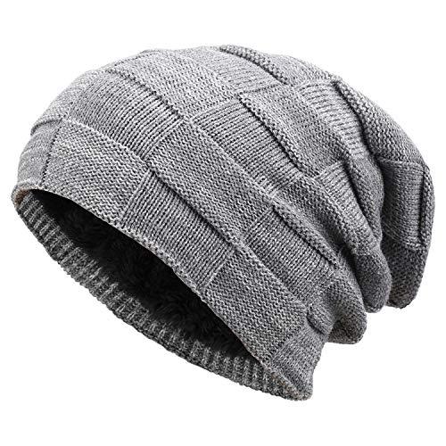Bequemer Laden Wintermütze Herren Damen Warme Strickmütze Slouch Beanie Mütze mit Wollfutter, Strickmuster-Hellgrau, Einheitsgröße