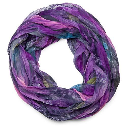 styleBREAKER Feder Muster Batik Style Loop Schlauchschal, Crash and Crinkle, seidig leicht 01016064, Farbe:Violett