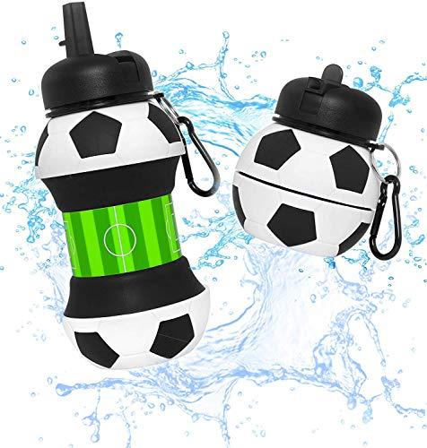 Botella Agua Silicona Diseño Fútbol y Deporte - Niños, Niñas y Adultos-...