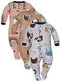 Sibinulo Jungen Mädchen Schlafstrampler mit rutschfest, Kleinkind 9-12 Monate Babykleidung Set 3er Pack Graue und beige Tiere, Igele 80