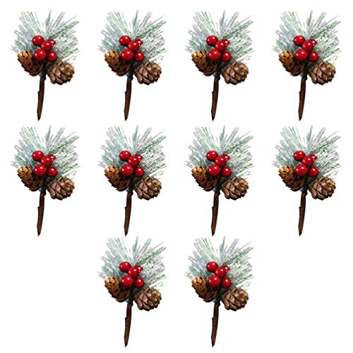 Tomaibaby Mini Christmas Pine Picks Artificial Pine Cones Berry Branch Wreath Diy Holly Christmas Pine Cone Stems Spray for Kid Adult Christmas Tree Decorations Crafts Holiday Home Decor 10Pcs