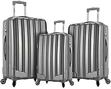 Rockland Barcelona Hardside 9-Piece Travel Gear Luggage Set, Silver, 3 (22/24/28)