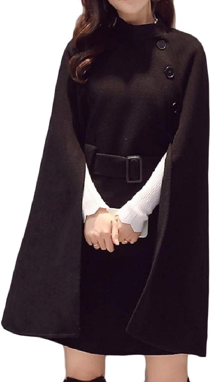 Tryist Womens Elegant Woolen Poncho Top Jacket Cloak Style Pea Coat
