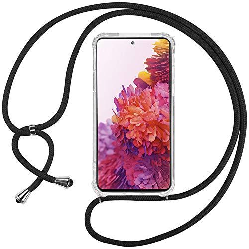 Ingen Funda con Cuerda para Samsung Galaxy s20 FE/Samsung Galaxy s20 FE 5G- Carcasa Transparente TPU Suave Silicona Case con Colgante-Negro