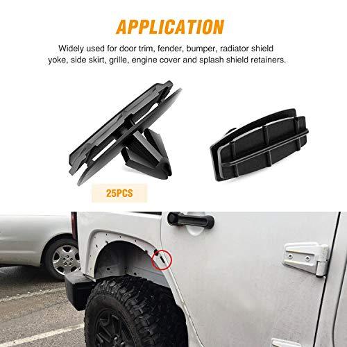 Fender Flare /& Rocker Moulding Clips Bumper Shield Retainer Clip for Jeep Wrangler Chrysler Ford GMC Assortment 6506007AA 6030441 68039280-AA OTUAYAUTO Blind Rivet Pack of 45