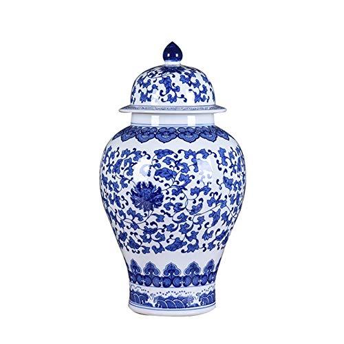 JIAJULL Jarra de Jengibre de cerámica, jarrones de Porcelana Azul y Blanca, jarrón de Porcelana...