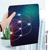 IPadケース スマートカバー アイパッドケース タブレットカバー アイパッド第四世代 第三世代 三角形の難解なエネルギーモチーフを中心とした幾何学的なデジタル重なり合う円グリッド