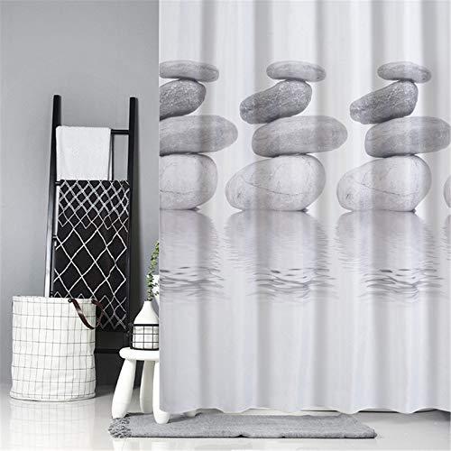 Rideau De Douche D'Impression Créative En Polyester Blanc + Gris Rideau De Salle De Bain Imperméable Épaissi 180x180cm(W+H)