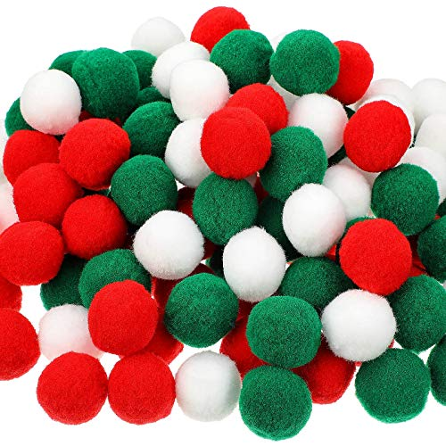 120 Pezzi Palline di Feltro Natale 3 cm Colorate Palline di Pom Pom in Feltro Pon Pon di Feltro Fatti a Mano Decorazioni Natalizie Fai-da-Te per Ghirlande Decorazione (Colori Classici di Natale)