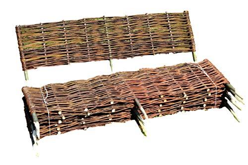 UNIKOL Weidenzaun 10 Stück Beeteinfassung 120 x 20cm Weidezaun Beetumrandung Palisade