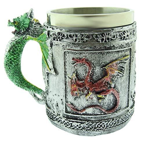 Tazza Drago Dragone Cinese 3D Acciaio Inox Resina Boccale Birra Idea Regalo Natale Compleanno Festa