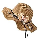 DEELIN Berretto da Spiaggia Donna Eleganti Floreale Bordo Ondulato Cappello da Sole Protezione UV Cappello di Paglia Topper Cappelli con Visiera