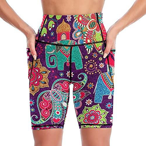 Yuzheng De Las Mujeres Elefante Pantalones Cortos De Yoga con Bolsillos