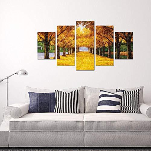 Dlfalg Moderne Decoratieve Schilderij Herfst Bladverliezende Zonlicht Combinatie Mural Huis Woonkamer Kantoor Art Muurschildering 5 Stukken Zonder Frame 20X30Cm*2+20X45Cm*2+20X55Cm*1